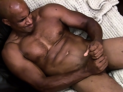 Hung ebony muscleman working hard in all directions rub a load of jism out of his shoal