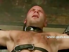 Gay dab disburse tortures bound slave with wax and serfdom clips in nas