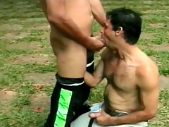 Hot Latin guys are great cocksuckers outdoors