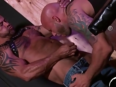 Leather bears lick ass and suck dick in triplet