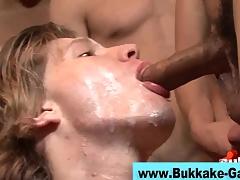Interracial blithe bukkake scene 4