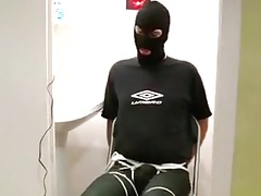 Chairtied, bulging crotch tightly roped and big O