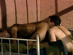 Three sexy and voluptuous guys enjoying hardcore anal action behind bars