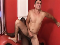 Black and characterless gay studs blow dick and take turns slamming it here the ass